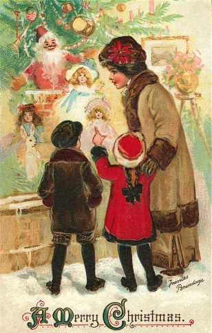 Christmas-card-vintage-mother-and-children-shopping4