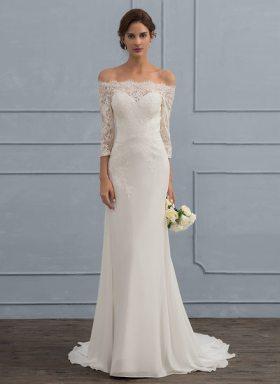 Off the Shoulder Wedding Dress (Under $100)