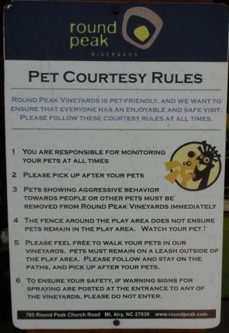 Round Peak Pet Courtesy Rules