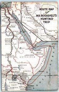 Teddy Roosevelt Hunting trip postcard map